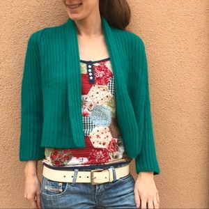 WORTH Cashmere Cable Knit Soft Teal Cardigan
